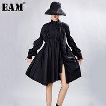 [EAM] femmes grande taille surdimensionné robe plissée nouveau col montant longue lanterne manches ample coupe mode marée printemps automne 2020 1A331