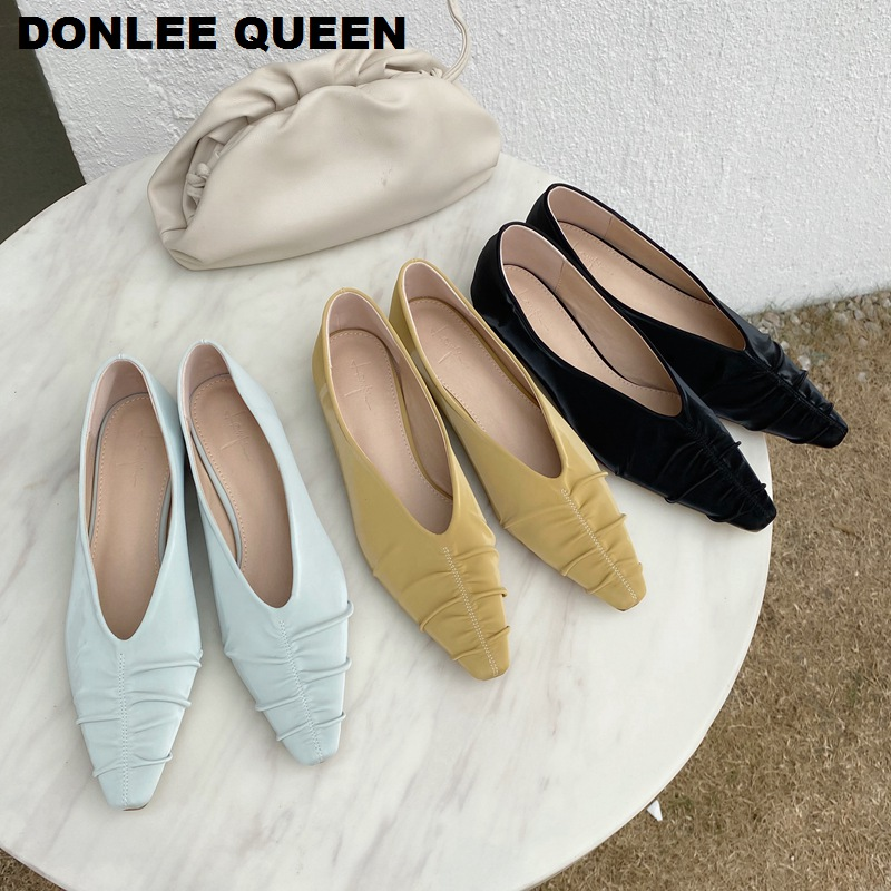 Spring New Fashion Women Soft Flat Ballet Shoes Women Flats Ballerina Low Heels Printed Toe Pleated Brand Shoes Zapatos De Mujer
