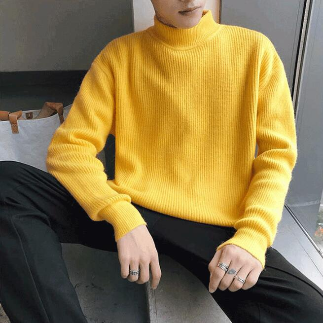 Men Yellow Sweater Turtleneck Knitting Winter
