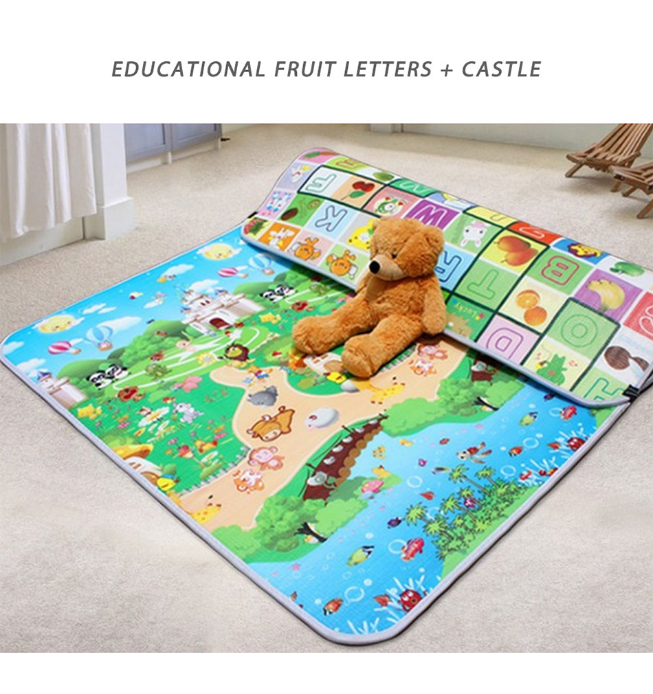 H9b4f75e4798648a9957035ad1eca7081H Baby Play Mat 0.5cm Thick Foldable Crawling Mat Double Surface Baby Carpet Rug Cartoon Developing Mat for Children Game Playmat