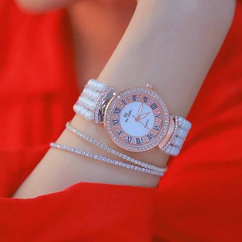 relojes para mujer 2019 Hot Sale Fashion Quartz Watches High Quality Roman Numerals Dial Pearl Chain hombre