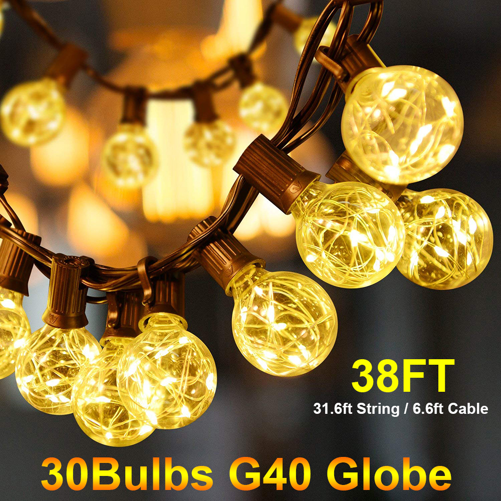38Ft G40 Globe Bulb String Light With 30 Clear Ball Backyard Patio Lights Vintage Bulbs For Outdoor Christmas Garland Party D20