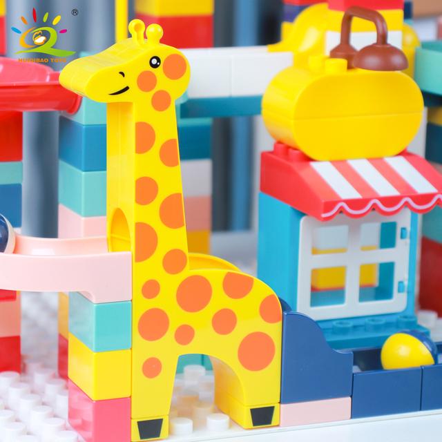 HUIQIBAO 217PCS Animals Marble Race Run Duploed size Building Blocks Big Bricks Set with baseplate Children kids DIY Toys gift