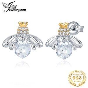 Image 1 - JewelryPalace Crown Bee Cubic Zirconia Stud Earrings 925 เงินสเตอร์ลิงต่างหูเกาหลีต่างหูแฟชั่นเครื่องประดับ 2020