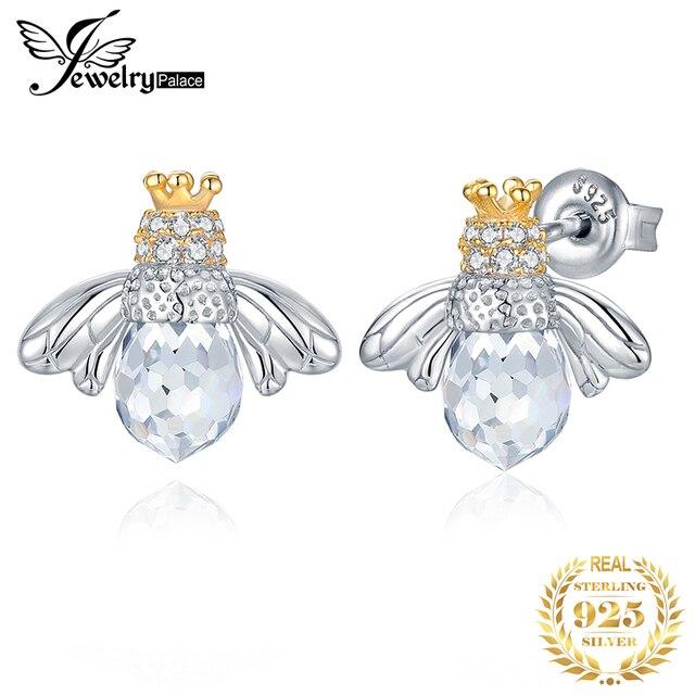 JewelryPalace Crown Bee Cubic Zirconia Stud Earrings 925 เงินสเตอร์ลิงต่างหูเกาหลีต่างหูแฟชั่นเครื่องประดับ 2020