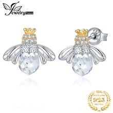 Jewelrypalace coroa abelha zircônia cúbica brincos 925 brincos de prata esterlina para as mulheres coreano brincos de moda jóias 2020