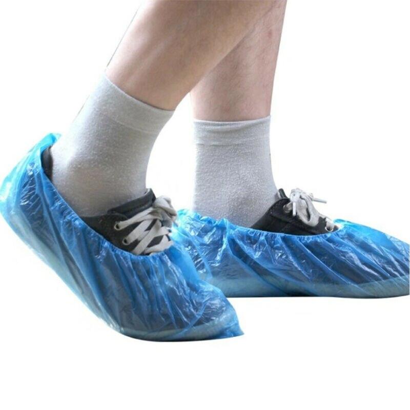 100Pcs Disposable Plastic Outdoor Rainy Day Carpet Cleaning Shoe Cover Blue Waterproof Shoe Covers Hot Sale Shoe Cover Drop Ship