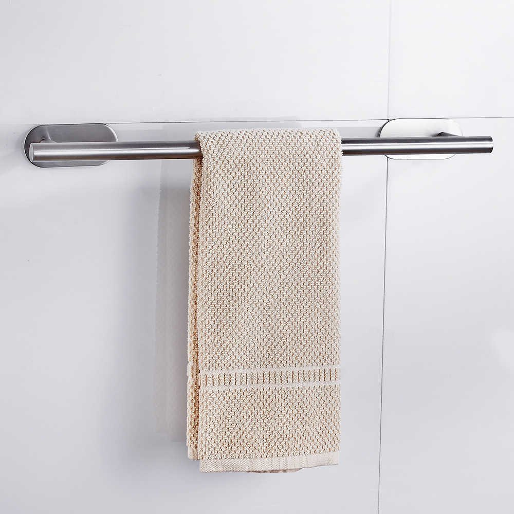 Bathroom Towel Shelf Holder Stainless Steel Wall-Mounted Hanger Self-Adhesive Home Hotel Organiser Rack Hanging Supplies Rod