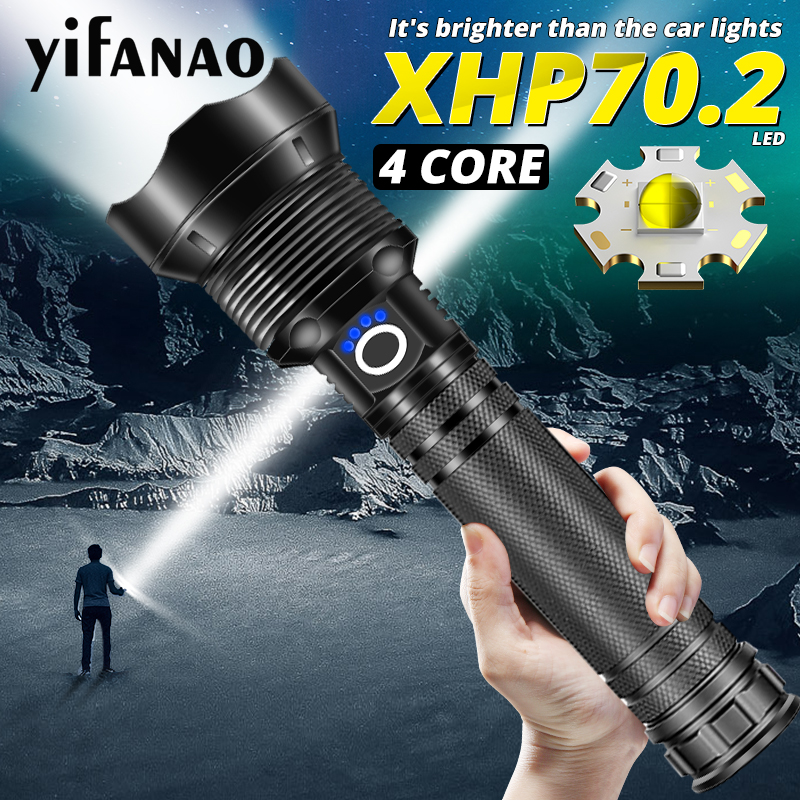 Ultra Powerful LED Flashlight XHP70.2 Xlamp XHP50 Bright USB Zoom Torch 18650 26650 Rechargeable Hunting Lamp Lantern 5 Modes