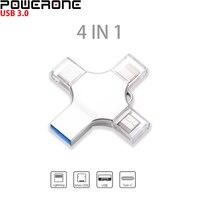 POWERONE-4 en 1 unidad Flash USB, memoria USB de metal, 16GB, 32GB, 64GB, 128GB, 256GB, memoria USB para iPhone/Android/PC/tipo-c