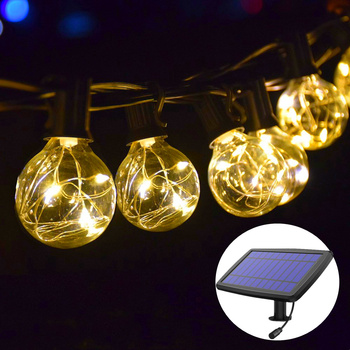 Solar Lamp Garland Light Solar Panel G40 Copper Wire Edison Bulb LED Solar Light Outdoors For Christmas Light Garden Decoration