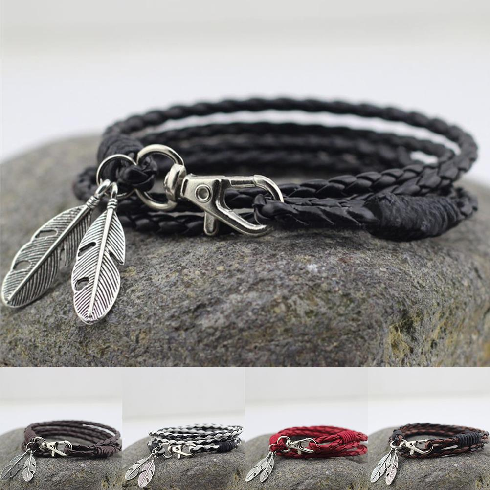 Man Charm Bracelets Bangles Accessories PU Leather Feather Charm Bracelets Man Bracelet Wristband Charm Braclet For Male Accesso