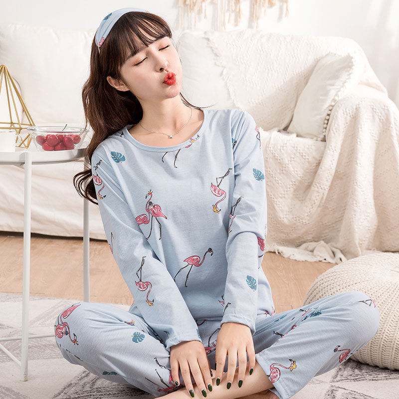 6535 Cotton Online Celebrity Three-piece Set Pajamas Women Long Sleeve Spring And Autumn INS Wind Flamingo Women's Tracksuit Wit