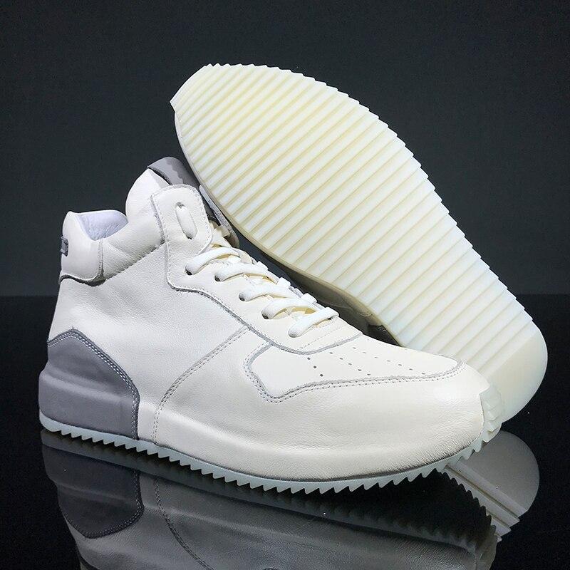 Повседневная мужская обувь с высоким берцем из высококачественной натуральной кожи; сезон осень зима; Мужские ботинки в британском ретро с... - 5