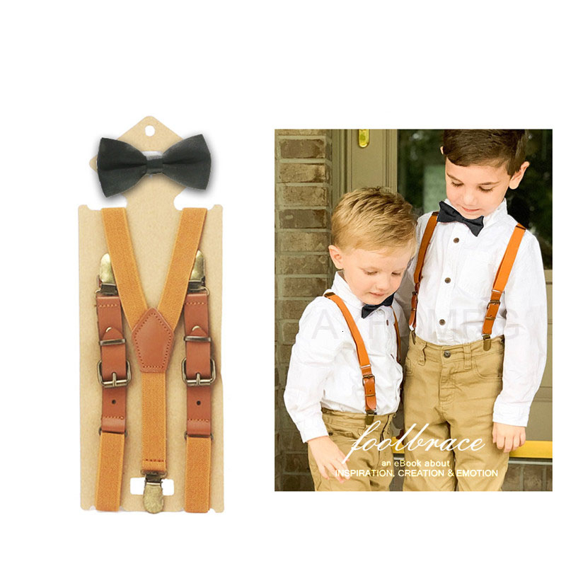 2cm Width Boys Girls Bow Tie Suspenders Set For Baby Kids Pants Bow Tie Braces For Children Wedding Party Szelki Bretels