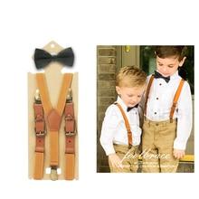 2cm Width Boys Girls Bow Tie Suspenders Set For Baby Kids Pants Bow Tie Braces For Children Wedding Party Szelki Bretels