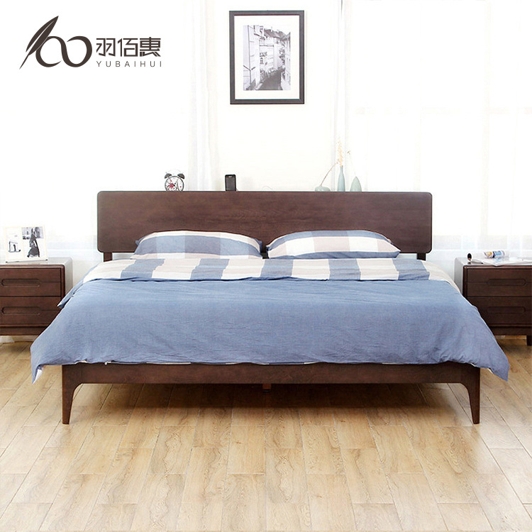 Feather Bai Hui Japanese Style Solid Wood Bed Modern Minimalist Double 1.8 M 1.5m Bedroom Economical Ju Mu Chuang