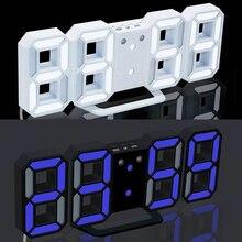 3D большой светодиодный цифровой настенные часы с датой Цельсия ночник Дисплей настольные часы будильник для дома гостиная