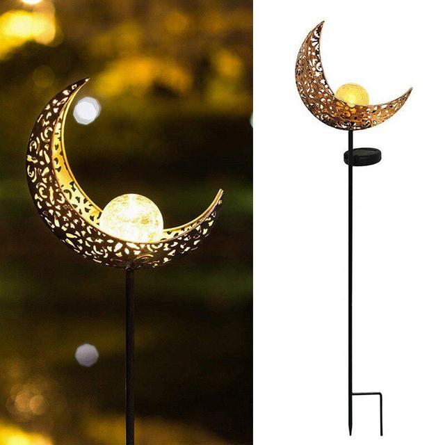 Hollow Out Moon Solar Flame Flickering Garden Lamp Torch Light Outdoor Waterproof IP65 For Yard Garden Landscape Decor Lighting