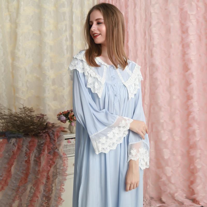 Nightgown Women Sleepwear Long Dress Cotton Nightgowns Women Princess Sleepshirts Vintage Nightdress Long Sleeve