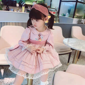 0-7Y Baby Girl Summer Autumn Turkey Style Pink Long Sleeve Lolita Princess Dress for Girls Casual Party Dress