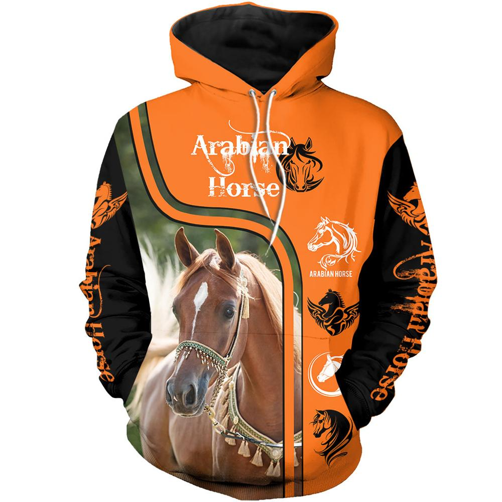 Animal Arabian Horse 3D All Over Printed Men Hoodies/Sweatshirt Retro Harajuku Fashion Hooded Autumn Hoody Casual Streetwear