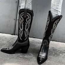 SARAIRIS/ из натуральной кожи и джинсовые ковбойские сапоги Вестерн женская обувь; модная обувь для отдыха женская обувь Для женщин