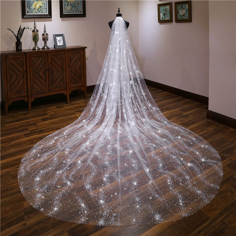 Dressv Amazing Dots Tulle Cathedral Wedding Veil One-Layer Ivory Long Accessories Bridal Veil For Wedding 2020