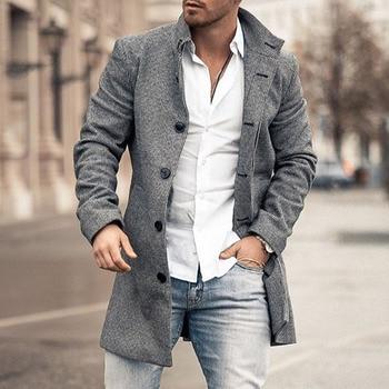 Casual Men Jacket Coat Autumn Straight Long Trench Coats Young Fashion Jackets Oversized 4XL Long Sleeve Slim Tops Overcoats new fashion women female korean short type long sleeve slim motor zipper leather jackets coats