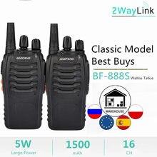Entrega rápida 1pc ou 2pcs baofeng BF-888S rádio em dois sentidos walkie talkie 888s uhf 400-470mhz 16 canais h777 rádio bf 888s H-777 c2
