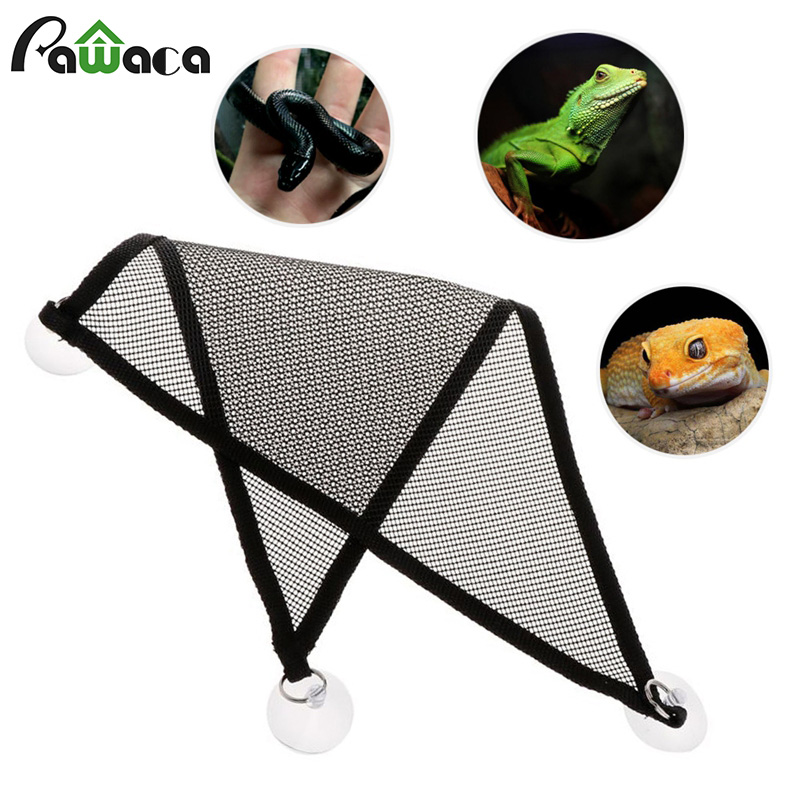 2 Pcs/Set Pet Hammock Mesh Sleeping Bed Play Toys Climb For Reptile Lizard With Suction Cup Climbing Pet Hammock Snake Lizard