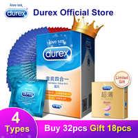 Durex préservatif 4 Types Ultra mince coq préservatif intime produits de sexe en caoutchouc naturel Latex pénis manchon sexe pour hommes