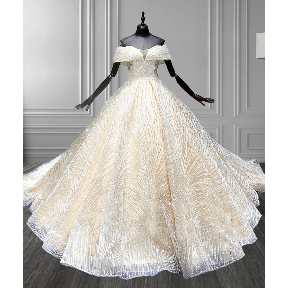 Vestido De Noiva New Ball Gown Wedding Dress Princess Off The Shoulder Beads Bling Sequined Champagne Bridal Gown Robe De Mariee