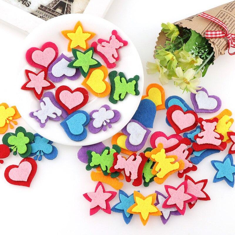 10pc Colorful Fabric Felt Double Layer Heart Bear Star Cutting Felts Patch DIY Cloth Applique Wedding Room Scrapbook Decor Craft