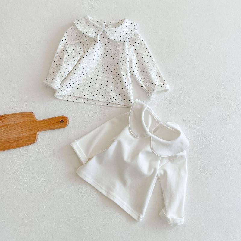 2021 Spring Baby Children's Clothing Girls Long Sleeve Solid Pure Cotton Cute Doll Collar Shirts Kids Girls Basic Shirts Tops