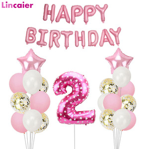 Pink Number 2 Balloons Set 2 Years Birthday Party Decoration 2nd Girl Second Happy Birthday Decor