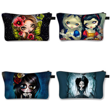 Gothic Skull Cosmetic Case Women Fashion Makeup Bag Girl Large Toiletry Zipper Pouch Travel Organizer Bags - discount item  15% OFF Special Purpose Bags