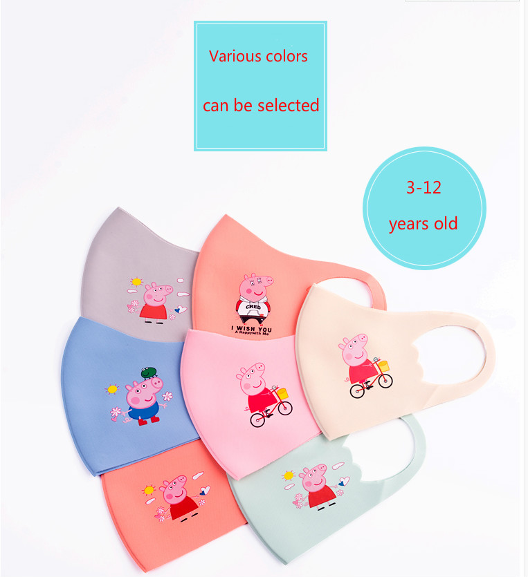 2020 New Cartoon Peppa Pig Lovely  Cotton Masks Festive Party Respirator Keep Warm Cotton Cute  Mask Camouflage Anti Dust Mouth