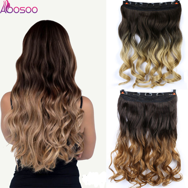 5 Clip In Hair Extension Ombre 24 Inches Blonde Black Full Head Synthetic Natural Curly Wavy Hairpiece Hair Pieces Headwear
