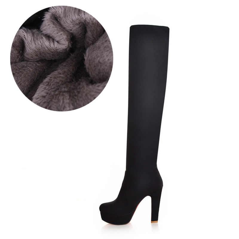 Novo sexy sobre o joelho botas quentes botas femininas plataforma sapatos femininos salto alto coxa fina botas altas femininas botas de inverno tamanho 47