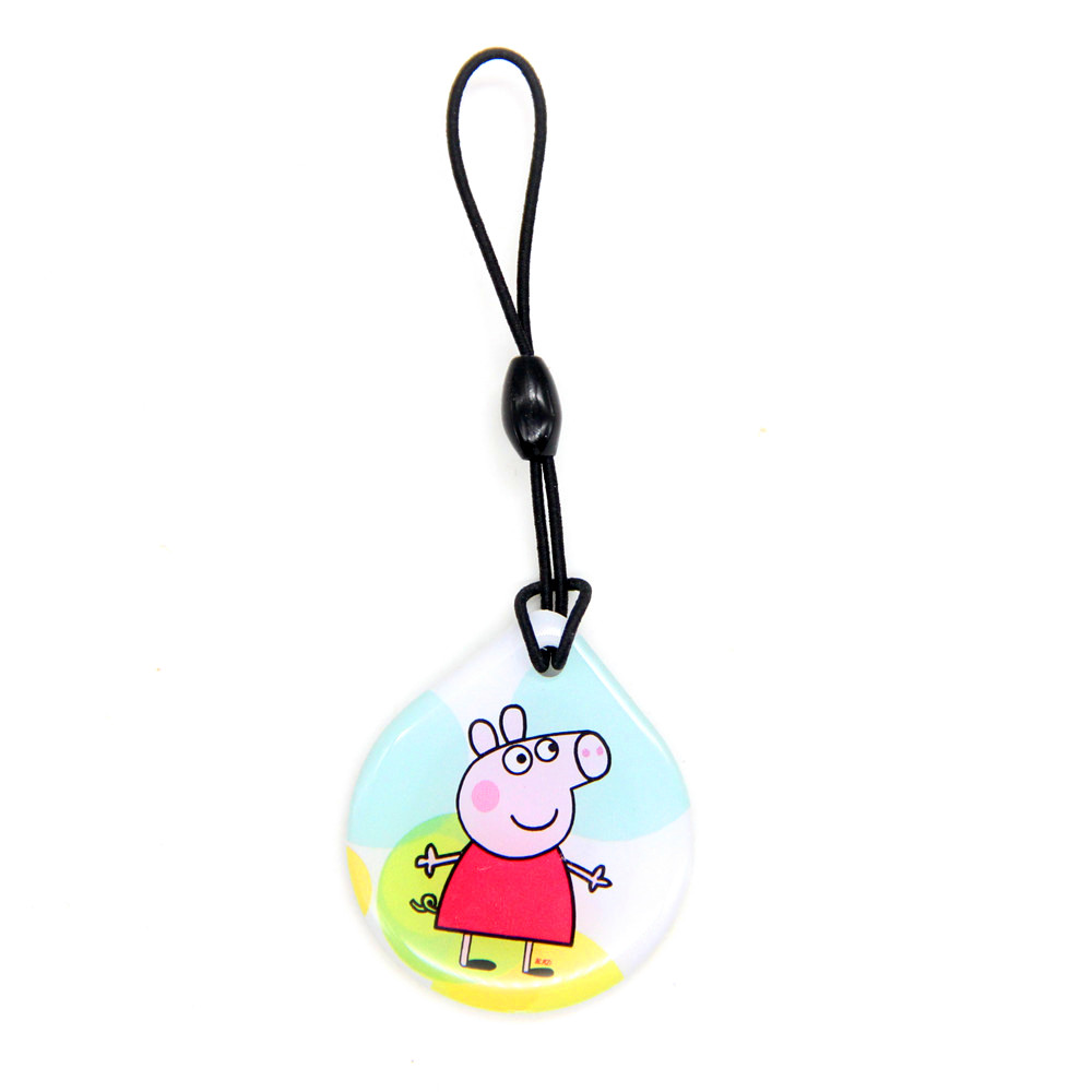 1pcs 13.56Mhz UID Changeable S50 1K Card Peppa Pig Dropping Glue Keyfob NFC Key Chain For Access Control