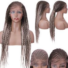 29 Inch Black Ombre Color Box Braid Braided Wig Lace Front Hair Wig Synthetic Heat Resistant Braiding Hair Wig For Black Women