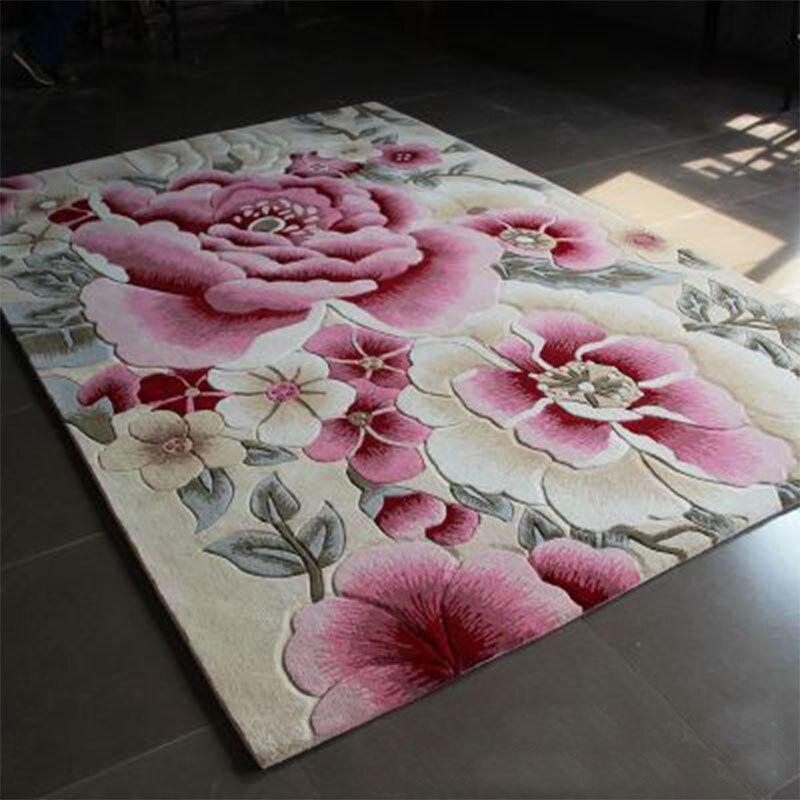 Grands tapis de laine tissés à la main de haute qualité pour salon tapis de laine chinoise chambre enfants tapis épais tapis de sol doux en peluche - 2