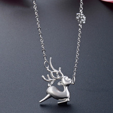 S925 Sterling Silver Necklace For Women Fashion Creative Cute Elk Shaped Pendant Korean Style Jewelry Gifts Female