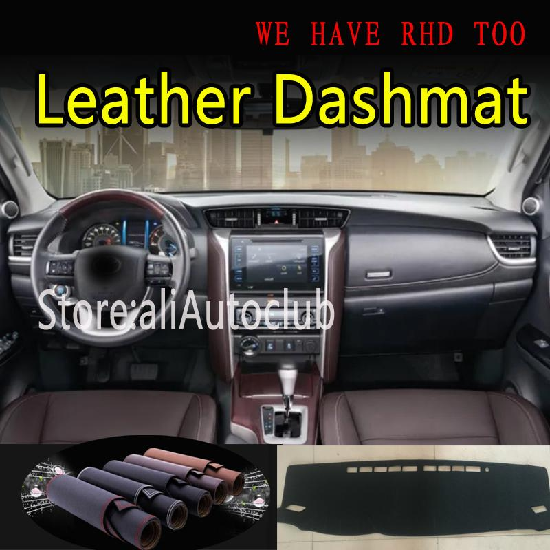 For Toyota Fortuner Sw4 N15 N16 2016 2017 2018 2019 2020 Leather Dashmat Dashboard Cover Pad Dash Mat Sunshade Carpet  Car