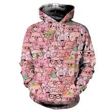 Homem engraçado porco & cachorro estampas hoodies moda impressão 3d primavera manga longa hoodies masculinos colorido