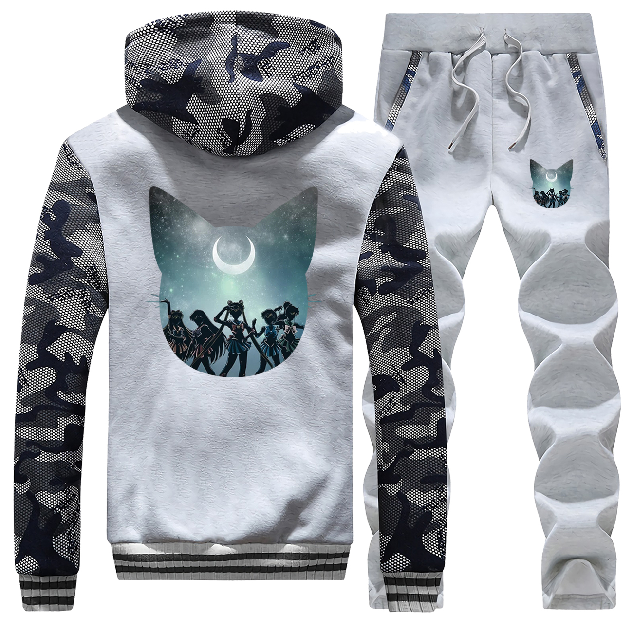 Anime Sailor Moon Print Jacket+Pants 2 Piece Sets Mens Hoodies Sweatshirt Winter Warm Suit Men Coat Fleece Tracksuit Zip Jackets