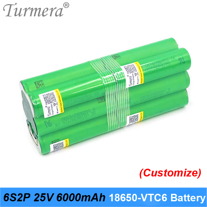 Turmera 6S 21.6V 25.2V Battery <font><b>18650</b></font> pack vtc6 6S2P <font><b>6000mah</b></font> soldering battery for screwdriver and garden tool customized battery image