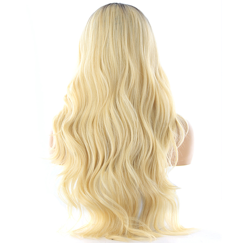 Blonde 613 Ombre Color Lace Part Synthetic Hair Wigs With Bangs Heat Resistant Fiber X-TRESS Long Wavy Wig Side Part For Women Karachi