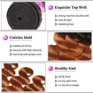 Image 5 - רך מרגיש שיער 1/3/4 Pcs Ombre ברזילאי שיער גוף גל חבילות T1B/30 Ombre שיער טבעי Weave חבילות חום רמי שיער הרחבות
